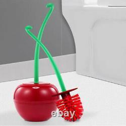 2Pcs Creative Toilet Brush Holder Set Cherry Shape Standing WC Cleaning Bathroom