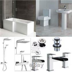 A modern bathroom suite complete with shower set for the L shape shower bath
