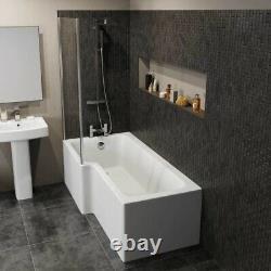 Complete 1500mm LH L Shaped Bathroom Suite Bath Screen Toilet Shower Sink Vanity