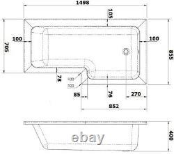 Complete 1500mm RH L Shaped Bathroom Suite Bath Screen Toilet Shower Sink Vanity