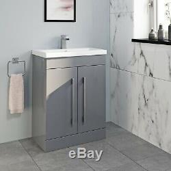 Complete 1600 L Shaped Bathroom Suite Close Coupled Toilet Vanity Unit Taps Grey