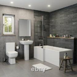 Complete 1600mm LH L Shaped Bathroom Suite Bath Screen Toilet Shower Sink Vanity