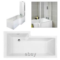 Complete 1700 Right Hand L Shape Shower Bath Suite Furniture Pack Waterfall Taps