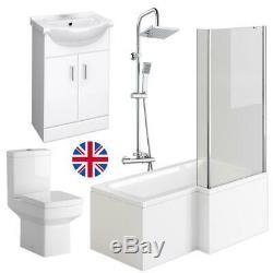 Complete 1700mm L Shape Bathroom Suite Shower Bath Screen Enclosure Right Hand