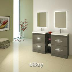 Complete Bathroom Cloakroom Patello Gloss grey Storage Vanity Unit Suite Option