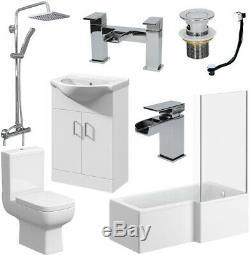 Complete Bathroom Suite 1500 L Shape Bath Screen Toilet Basin Vanity Unit Shower