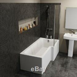 Complete Bathroom Suite 1500 L Shape LH/RH Bath Screen Basin Toilet Shower Taps