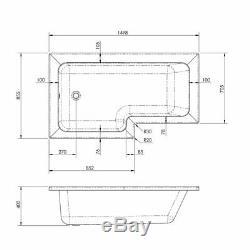 Complete Bathroom Suite 1500mm LH L Shaped Bath WC Basin Vanity Unit Taps Shower