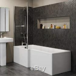 Complete Bathroom Suite 1600 L Shape Bath LH/RH Screen Basin Toilet Taps Shower
