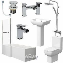 Complete Bathroom Suite 1600 L Shape Bath LH/RH Screen Toilet Basin Taps Shower