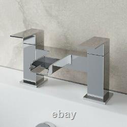 Complete Bathroom Suite 1600 LH/RH L Shaped Bath Vanity Unit Toilet Taps Shower