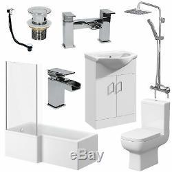 Complete Bathroom Suite 1600mm LH L Shaped Bath WC Basin Vanity Unit Taps Shower