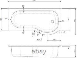 Complete Bathroom Suite 1700 LH/RH P Shape Bath Basin Pedestal Toilet Tap Set