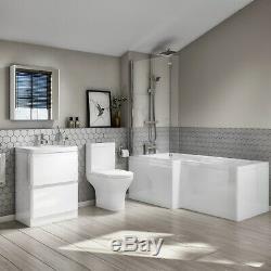 Complete Bathroom Suite 1700mm L-Shaped Bath close Coupled Toilet & Vanity Unit