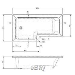 Complete Bathroom Suite L Shape 1600mm Right Hand Bath Screen Toilet Basin Taps