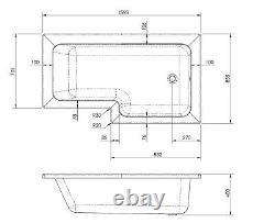 Complete Bathroom Suite L Shape RH 1600 Bath Toilet Vanity Unit Taps Shower Grey