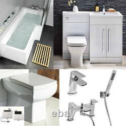 Complete Bathroom Suite L Shape Shower Bath Vanity Unit L shape Whirlpool