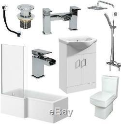 Complete Bathroom Suite L Shaped 1500mm LH Bath Basin Vanity Unit WC Shower Taps