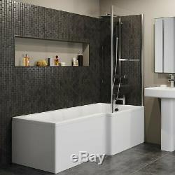 Complete Bathroom Suite L Shaped 1500mm RH Bath Basin Vanity Unit WC Shower Taps