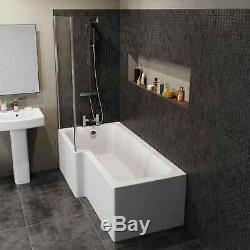 Complete Bathroom Suite L Shaped Bath Close Coupled Toilet Basin Screen Taps Set