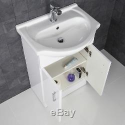 Complete Bathroom Suite L Shaped Bath LH Toilet Basin Vanity Unit Taps Shower