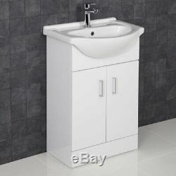 Complete Bathroom Suite L Shaped Bath RH Toilet Basin Vanity Unit Taps Shower