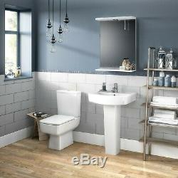 Complete Bathroom Suite L Shaped Bath Square Toilet Vanity Unit Taps Shower Set