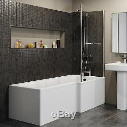 Complete Bathroom Suite L Shaped RH Bath Basin Vanity Unit Toilet Shower Taps