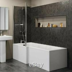 Complete Bathroom Suite LH L Shaped Bath Vanity Unit BTW Toilet Tap Set Shower