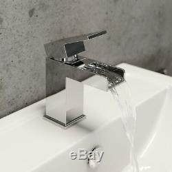 Complete Bathroom Suite LH L Shaped Bath Vanity Unit BTW Toilet Tap Set Shower
