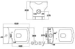 Complete Bathroom Suite LH/RH 1700 P Shape Bath Basin Pedestal Toilet Tap Shower