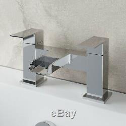 Complete Bathroom Suite LH/RH L Shaped Bath Vanity Unit BTW Toilet Taps Shower