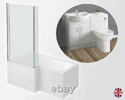 Complete Bathroom Suite Left Hand L Shape Bath Vanity Unit Basin Sink Toilet Pan