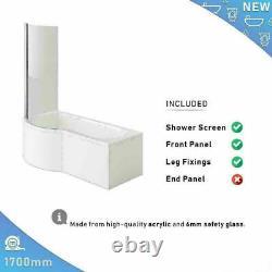 Complete Bathroom Suite Left Hand P Shape Bath Vanity Unit Basin Toilet Pan