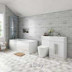 Complete Bathroom Suite Left Hand P Shape Shower Bath Right Basin Vanity Toilet