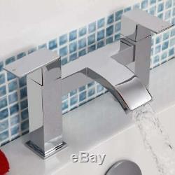 Complete Bathroom Suite P Shape LH Bath Panel Screen Basin WC Shower Taps Set