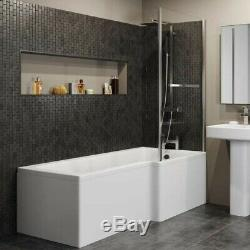 Complete Bathroom Suite RH L Shaped Bath Vanity Unit BTW Toilet Tap Set Shower