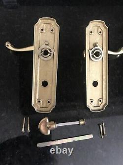 Complete Georgian Heritage Brass Shaped Bathroom Door Handle 3 barrel included