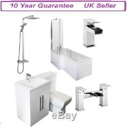 Complete L-Shape Bathroom Suite White Combination Bath Screen Taps