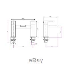 Complete L Shaped Bathroom Suite 500 basin unit Shower Screen Bath Panel Tap