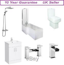 Complete L Shaped Bathroom Suite 600 Vanity unit Shower Screen Bath Panel Tap