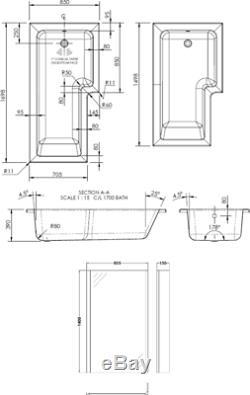 Complete L Shaped Bathroom Suite Close Coupled Toilet Basin LH Bath Screen Taps