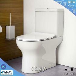 Complete L Shaped Bathroom Suite Shower RIMLESS WC Toilet Vanity Unit Bath Taps