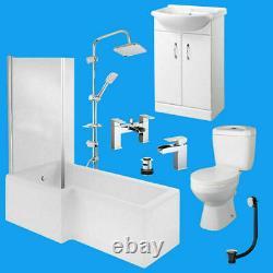 Complete L Shaped Bathroom Suite Toilet Basin Shower Screen Bath Panel Taps Set