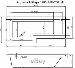 Complete L Shaped Bathroom Suite Toilet Sink Basin Shower Bath Screen & Taps Set