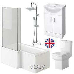 Complete L Shaped Shower Bathroom Suite Close Coupled Toilet Vanity Unit L/Hand