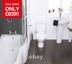 Complete Shower Bath Suite Right Left Hand Shaped Bathroom Toilet Basin Taps