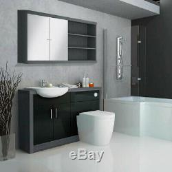 Complete bathroom L shaped bath LH toilet sink vanity unit tap drift black suite