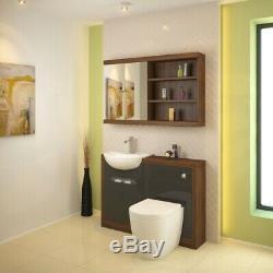 Complete bathroom L shaped bath LH toilet sink vanity unit tap grey brown suite