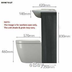 Complete bathroom suite L shaped bath RH toilet sink vanity unit tap drift black